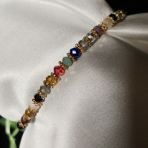 Faceted Multicolors on Gold Stretch Bracelet